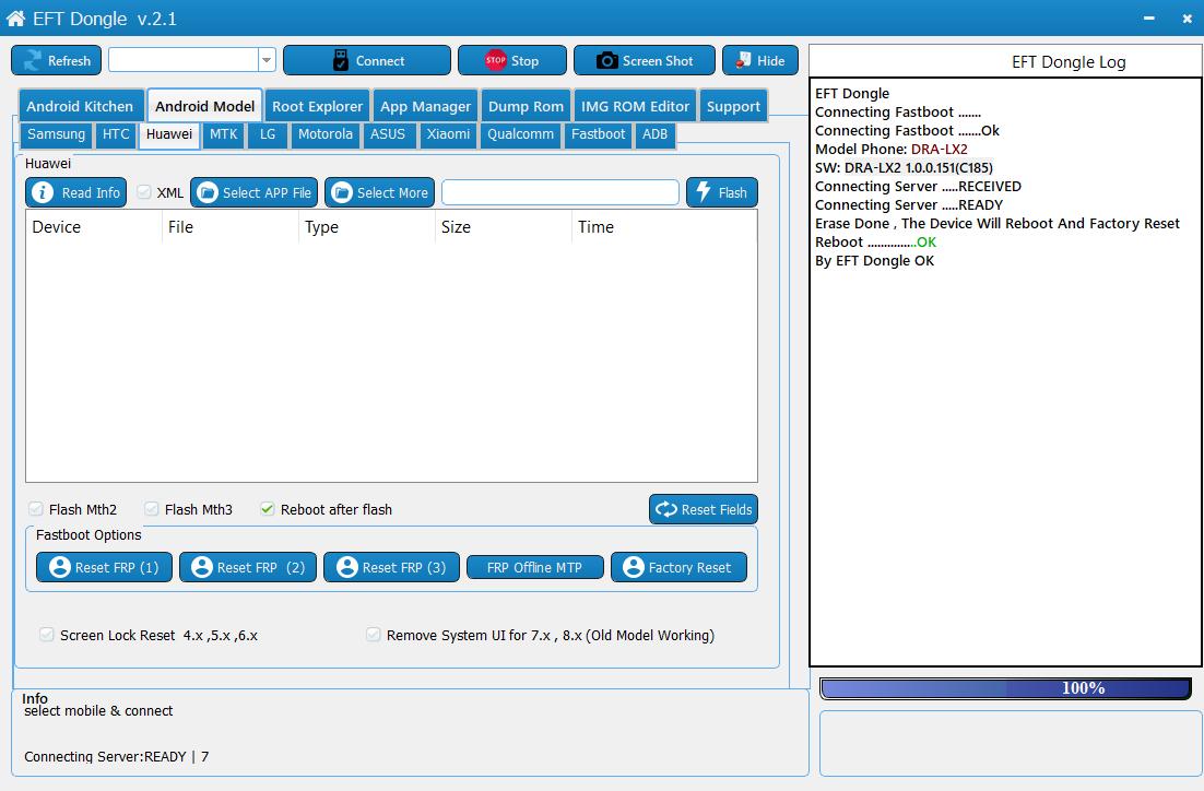 فتح جوجل اكونت DRA-LX2 1 0 0 151(C185) بواسطة EFT DONGLE | Easy Firmware