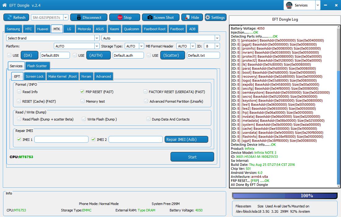 ازالة FRP انفينكس INFINIX NOTE 3 X601 MT6753 باستحدام EFT Dongle